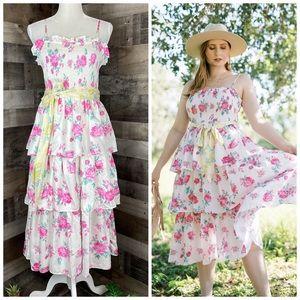 NEW LoveShackFancy Elise Smocked Dress Floral L